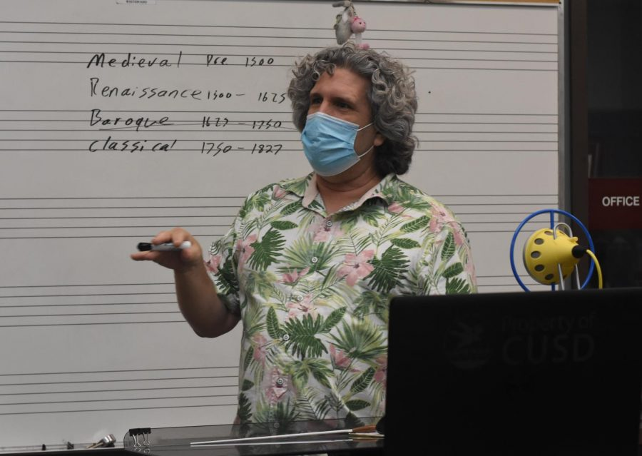 McElory teaches his class about music from the Medieval era all the way to the classical era. While every class has needed to make adjustments this year, perhaps no class has had to make more adjustments than the instrumental class because with only half of the student being in-person in any given day, the other half of the band or orchestra are missing.