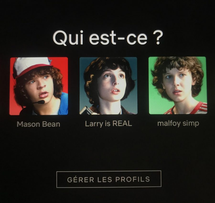 The Netflix language setting is switched to French, where the home screen is asking the user to pick a profile. Once chosen, the user will have a variety of movies, shows and categories to pick from, which are all not excluded from being in the French language as well.
