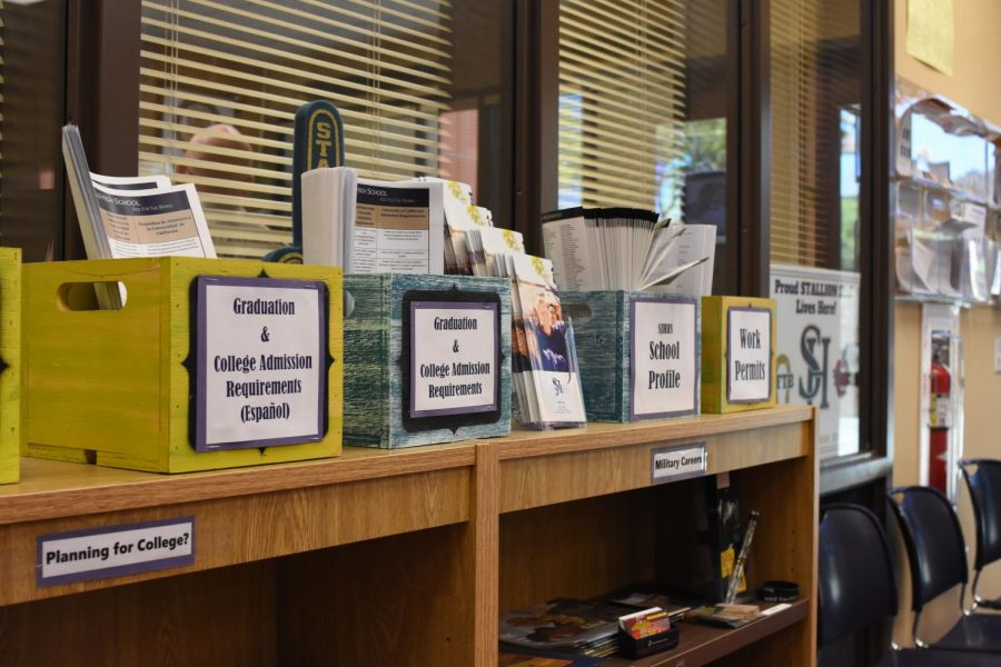 The guidance office has many resources for students to utilize including information about college admissions and work permits.