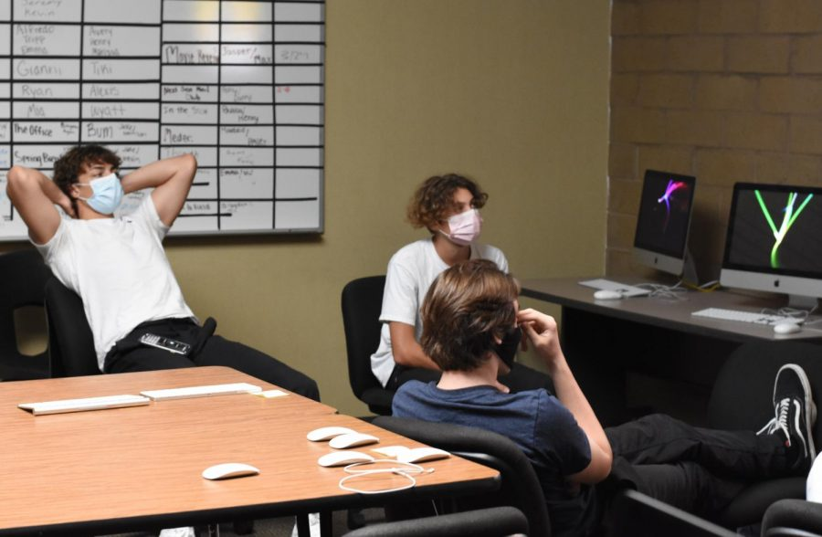 Video production students watch a video in class during the first week of the hybrid schedule. Students come back to school, wearing masks as in-person learning started up again.
