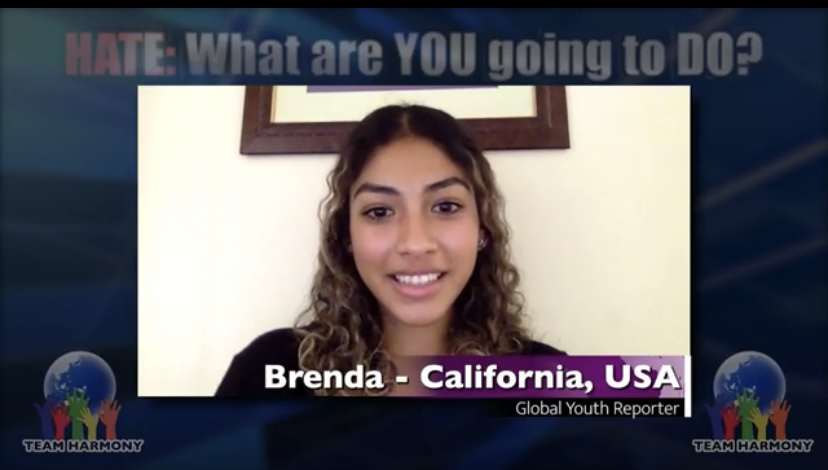 Brenda+Galvan+gives+a+speech+over+zoom+as+a+reporter+for+the+Global+Youth+about+steps+one+can+take+to+combat+hate.