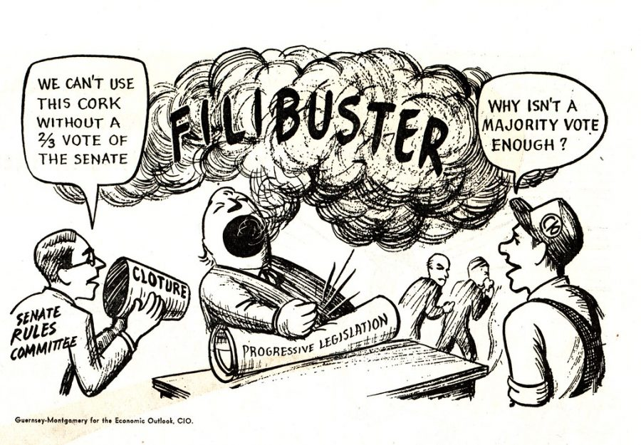 The senate filibuster, as depicted in the comic, has consistently been used by politicians as a way to counter progressive legislation even if their own party doesn't hold the majority.