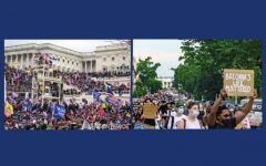 The capitol riots, left, looked a lot different compared to the Black Lives Matter protests, right, that took place over the summer. The discrepancies between the two events are a clear example of white privilege.