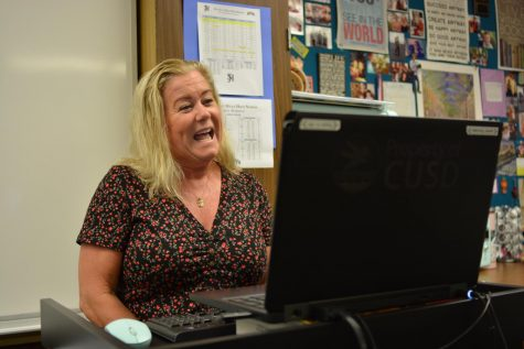 2021 Teacher of the Year, Jaime Gonzales records her Back to School night message using Zoom. The presentations were virtual again this year because of Covid-19 concerns. In CUSD messages were recorded, while in other districts like Poway Unified live Zooms are planned.