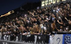 The energetic student section cheers on the football team during the neck-in-neck game on Friday. Though the match against Cypress High School ended in a close loss of 27-29, Stallions in the crowd scored third place in the Battle of the Student Sections of OC.