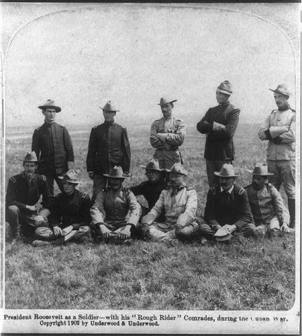 President Roosevelt poses with his roughriders, who San Juan Hills is loosely attached to.