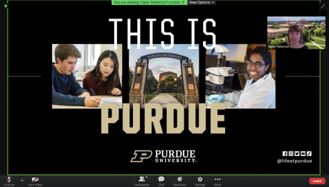 Taylor Patterson, a representative and alumna from Purdue University, talks to students about the different programs Purdue offers, and the application process and requirements.
